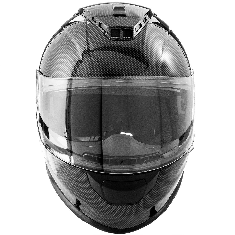 X-Large DOT Motorcycle Helmet Full Face KOI Gloss Carbon Fiber w//Clear Visor