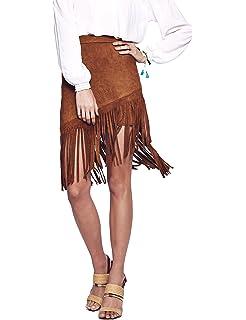 1537bf3afc Bloome Women's High Waisted Fringe Mini Skirt - Ladies Asymmetrical Suede  Miniskirt