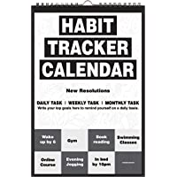 Accuprints Habit 2020 Calendar for Wall for Motivational 2020 Planner Office Home Table New Year Hanging Kids All Year Students School Gift Girls Room Living Room (Black and White)