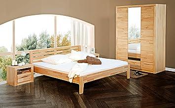 2065-1 - Bett, 140x200 cm , Kernbuche massiv geölt, mit Quer ...