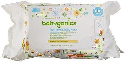 BabyGanics cara, mano toallitas bebé, sin aroma, 300 hilos (contiene tres.