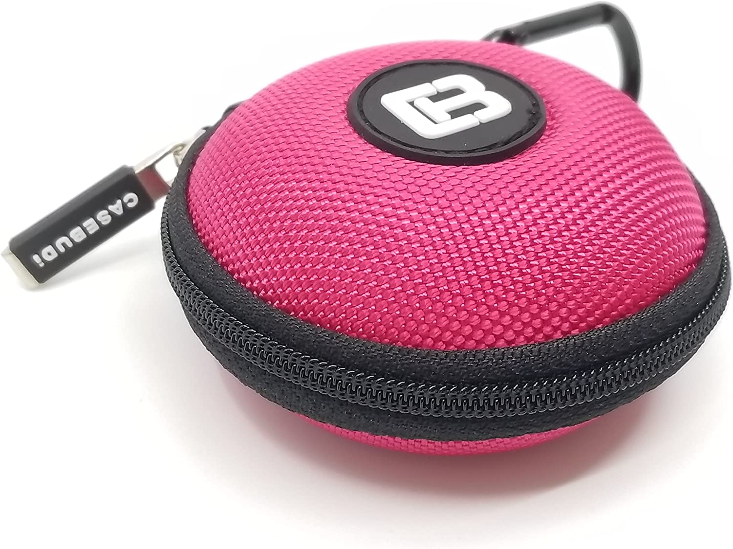 CASEBUDi Round Earbud and Phone Charger Storage Case with Carabiner | Pink Ballistic Nylon