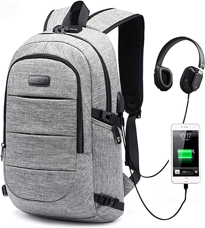 Laptop Backpack, AMBOR Business Travel Anti Theft Laptops Backpack, with USB Charging Port & Headphone Interface, College School Computer Bookbag Gifts for Men & Women Fits 15.6 Inch Notebook, Grey