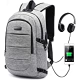 Travel Laptop Backpack, AMBOR 15.6-17.3 Inch Anti Theft Business Backpack with USB Charging Port and Headphone Interface,Larg