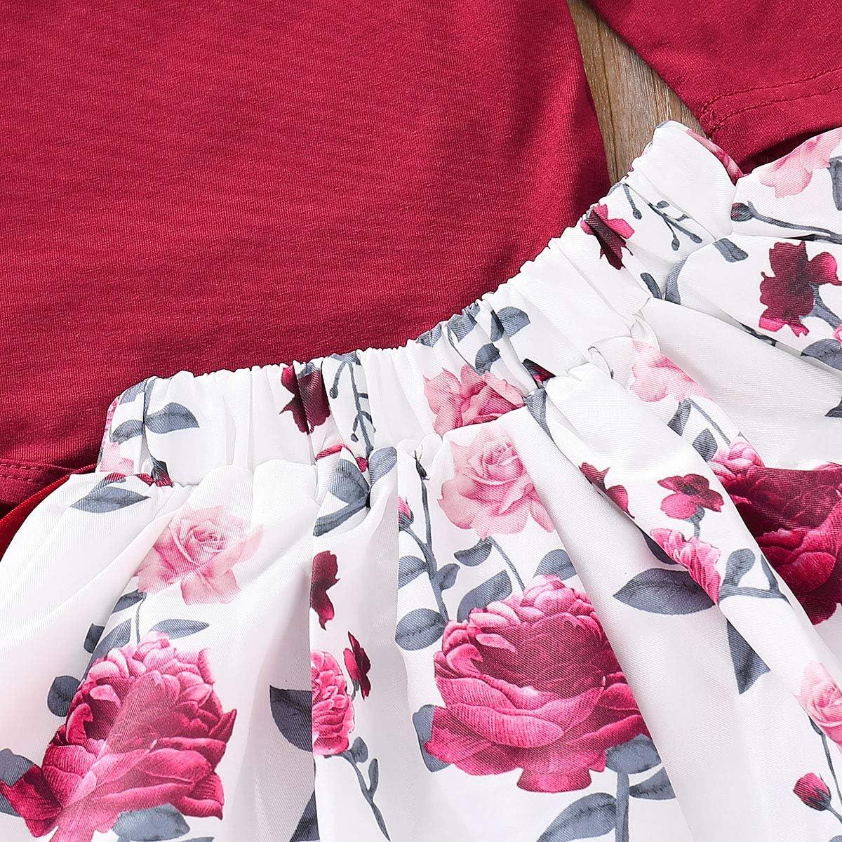 0-2T Girls Long Sleeve Romper Baby Girl 3 PCS Outfits Ruffle Shoulder Romper Rose Print Skirt Bowknot Headband Sets