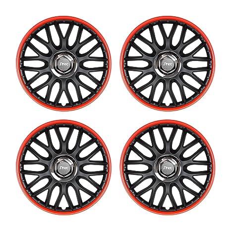 Embellecedores de llantas, 4 unidades, bicolor, negro y rojo, 38 cm