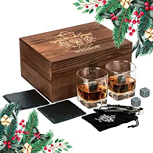 Whiskey Glass Set of 2 - Whiskey Stones Gift Set - Scotch Bourbon Glasses - Whisky Rocks Chilling Stones in Wooden Box - Burbon Gift Set Idea for Wisky Lovers Men – Rocks Glasses Stone Set in Gift Box