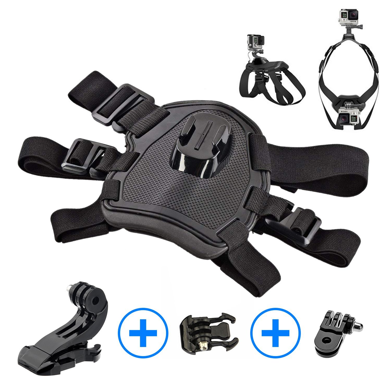Sports Action Camera Adjustable Dog Harness with Chest and Back Mounts For GoPro HERO 6, 5, 4 Session 4, 3, 2, 1 | Dogs POV, Point Of View | Includes BONUS 90° Mount {-Crinco-}