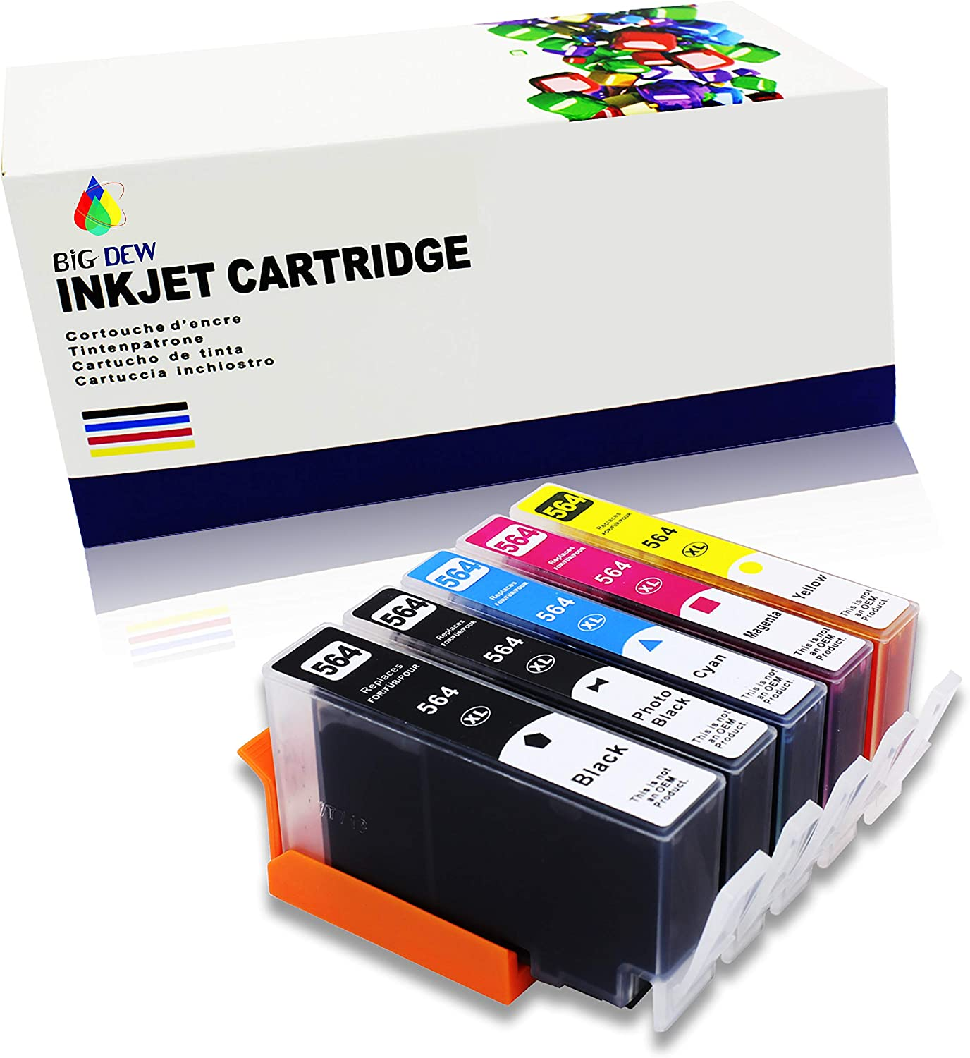 Big Dew Compatible Ink Cartridge Replacement for HP 564XL 564 Ink Cartridges Use in PhotoSmart 7510 7515 7520 7525 B109 B8550 C309 C410 C510 C5300 C6300 D5400 D7500 C310 (5-Pack)