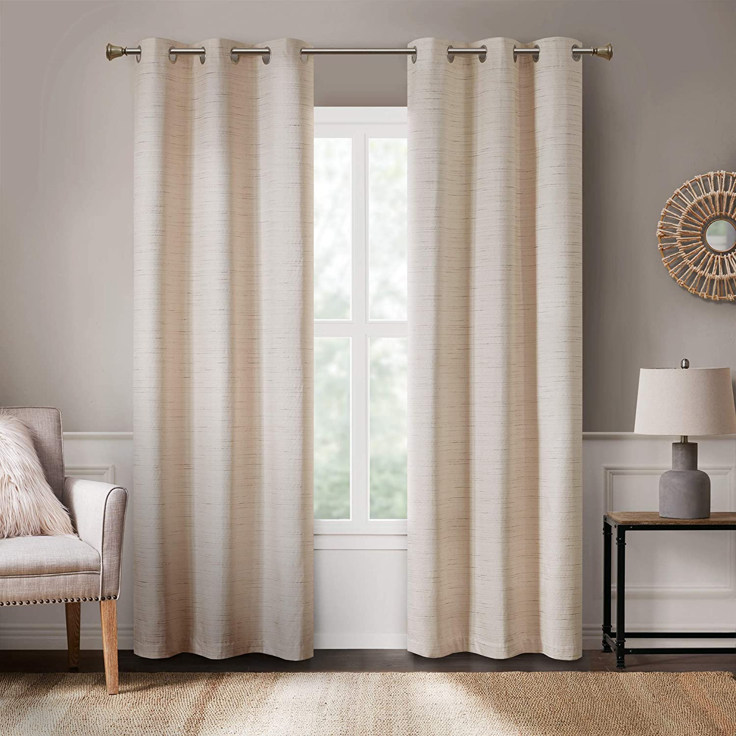 Amazon Com Hyde Lane Modern Farmhouse Curtains For Living Room Rustic Style Bedroom Window Treatments Grasscloth Faux Linen Grommet Top For Sliding Door Yellow Ivory 40x84 Inches 2 Panels Kitchen Dining