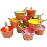 أكواب آيس كريم بلاستيكية مع ملاعق، أوعية حلوى احتفالية، ألوان متنوعة (عبوة من 12 قطعة)