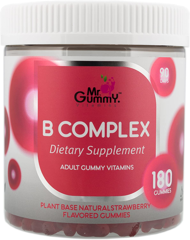 Mr Gummy Vitamins B Complex Supplement | Vitamin B3, B5, B6, B12, Biotin, Folic & C | Supports Heart & Nervous System Health | [180 Gummies, 90-Day Supply] | for Men and Women