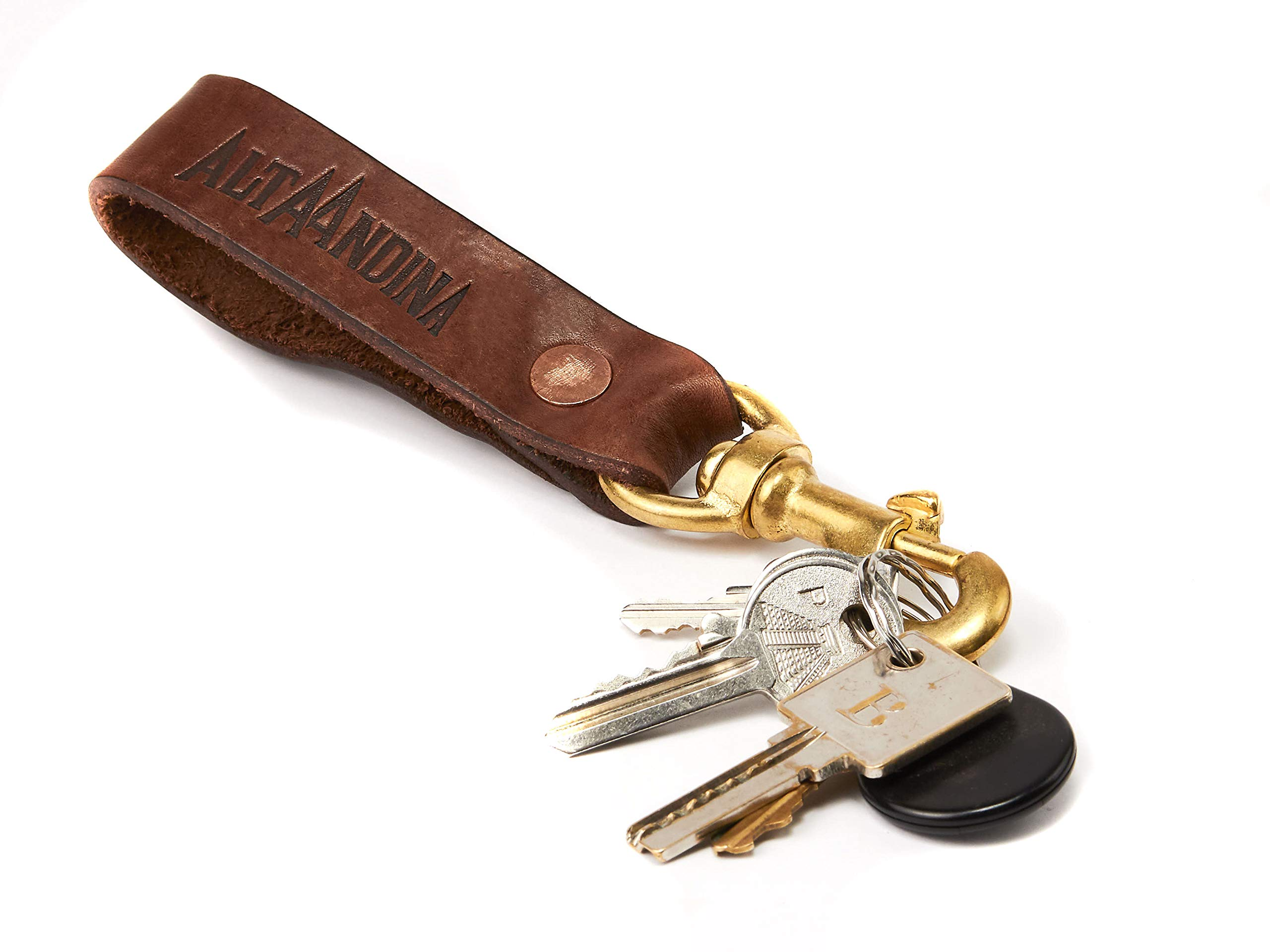 Alta Andina Leather Keychain | Solid Bronze Valet Clip