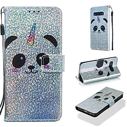 Case for Galaxy S10,Durable Smooth PU Leather Magnetic Durable Wallet Case Kickstand Folding Sparkly Glitter Case with Card Holder Magnetic Closure ...
