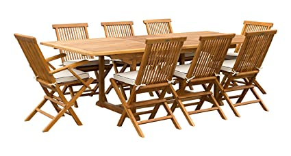Amazon.com: Juego de comedor Miami de 9 piezas de madera de ...