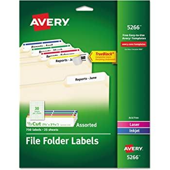 avery 5266 Amazon.com : Avery File Folder Labels in Assorted Colors for Laser ...