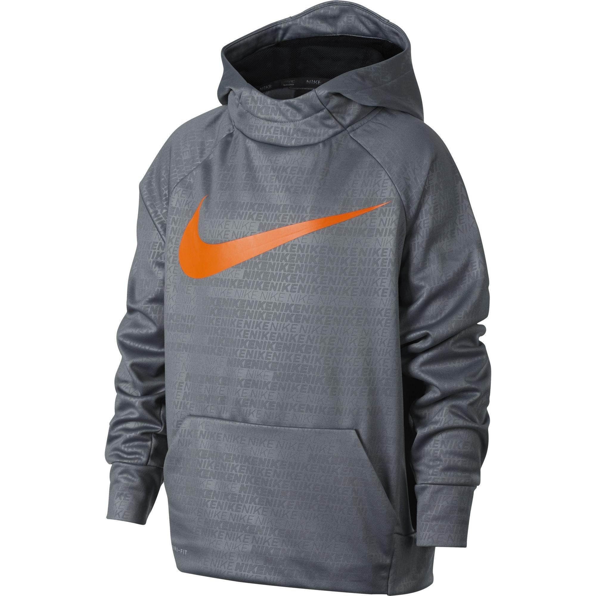 Nike Boy's Therma Training Hoodie Cool Grey Size Medium