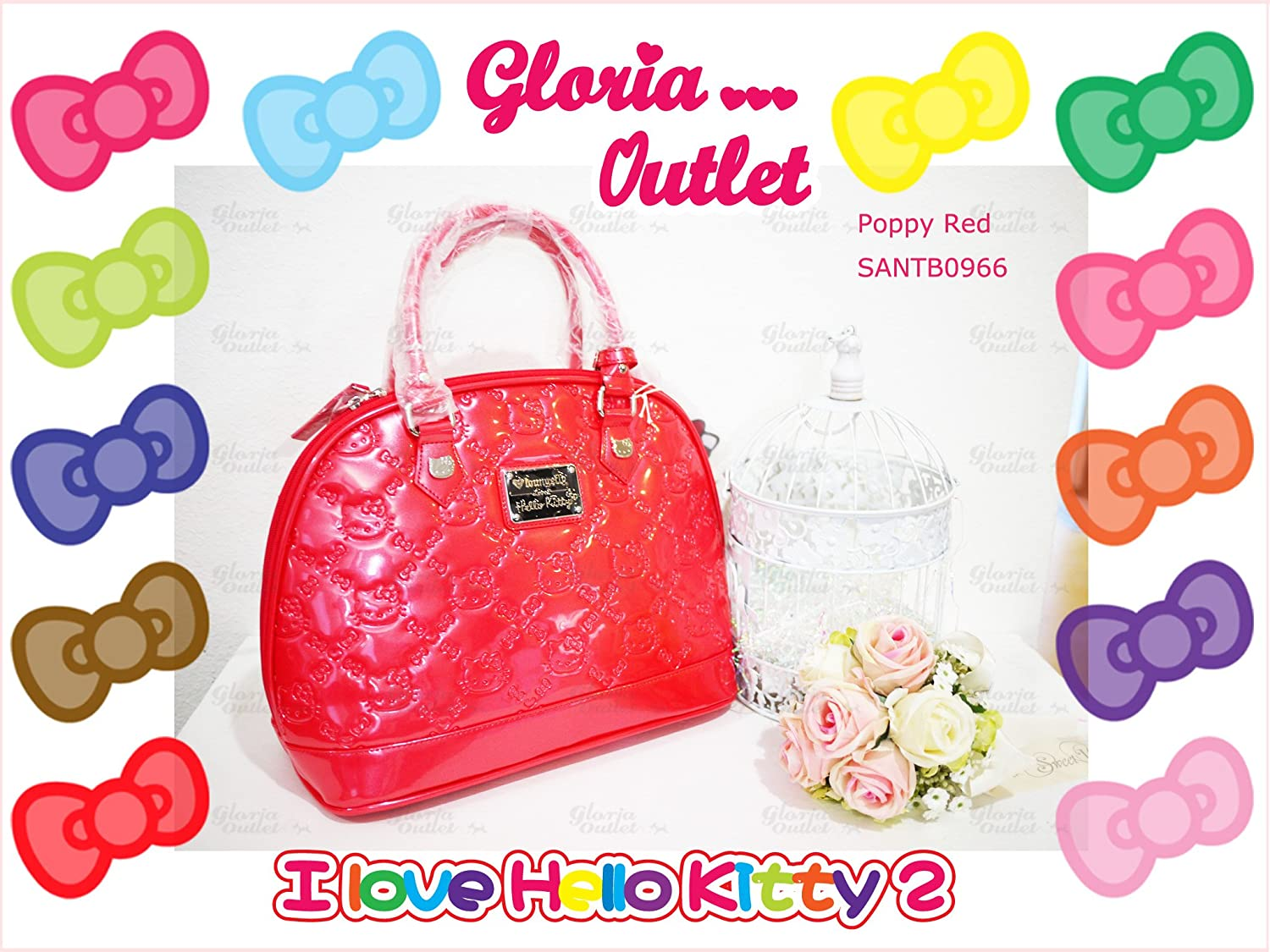 2bcea4a1b62e Amazon.com   Hello Kitty poppy Red Embossed Patent Bag SANTB966 Loungefly    Beauty