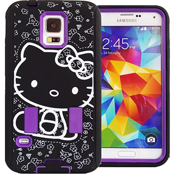 cheaper 5b1e2 2bdbb Amazon.com: Samsung Galaxy S5 Hello Kitty Hybrid Purple Black for ...