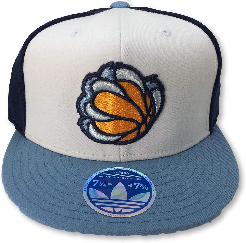 adidas Memphis Grizzlies Flat Bill Alternate Logo Adult Flex Fit Cap Hat L//XL