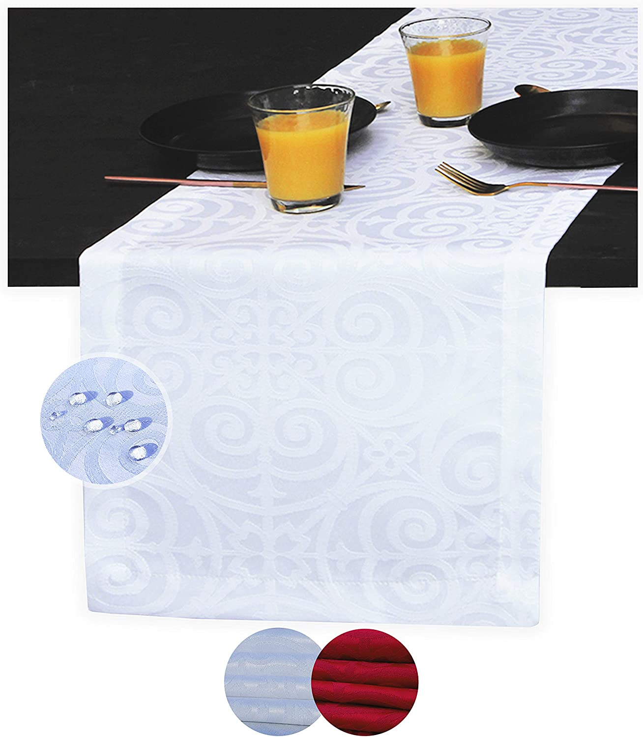 Akutana White Table Runner 72 inch, Waterproof Damask Dresser Scarf, Outdoor Coffee Table Runner, Spill-Proof Jacquard Dining Table Runners for Dinner Parties, Events, Wedding, Long Decor, Christmas