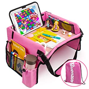 [New Version] Car Seat Organizer Kids Travel Tray for Kids Toddlers Activities in Car Seat, Stroller, Airplane | Touch Screen iPad Holder | Waterproof Dry Erase Top | Side Pocket & Water Bottle Holder