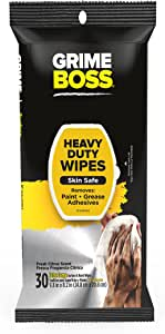 Grime Boss Heavy Duty Wipes Hands, Equipment, Garden, Auto, Camping, 30 Count