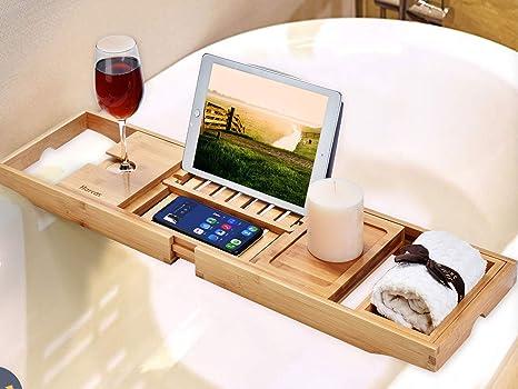 Premium Badewannenablage aus Bambus von Harcas. Wunderschönes ausziehbares  Badewannentablett mit Weinglas-Halterung, Seifenschale und ...