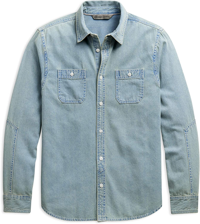 HARLEY-DAVIDSON Camisa de Mezclilla Ajustada para Hombre, Color Azul Claro: Amazon.es: Ropa y accesorios
