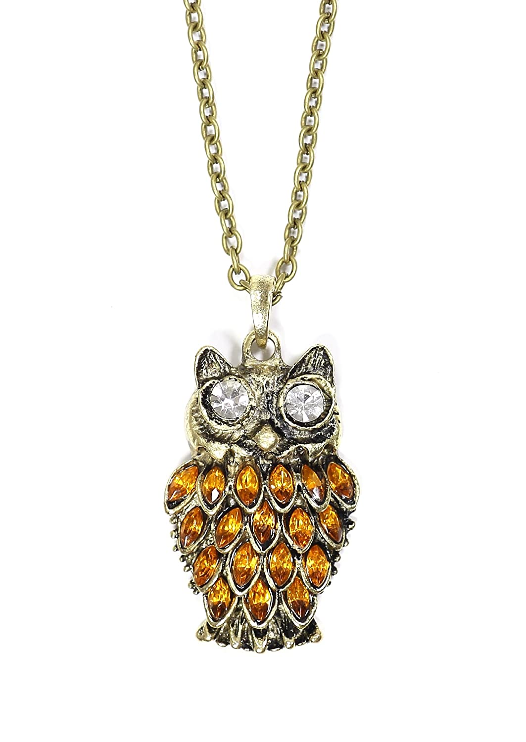 Magic Metal Amber Crystal Owl Necklace Vintage Retro NF12 Gold Charm Antique Pendant Fashion Jewelry