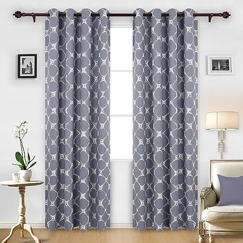 Deconovo Blackout Trellis Pattern Darkening Window Curtains for Kids Room, 52 W x 95 L, Grey