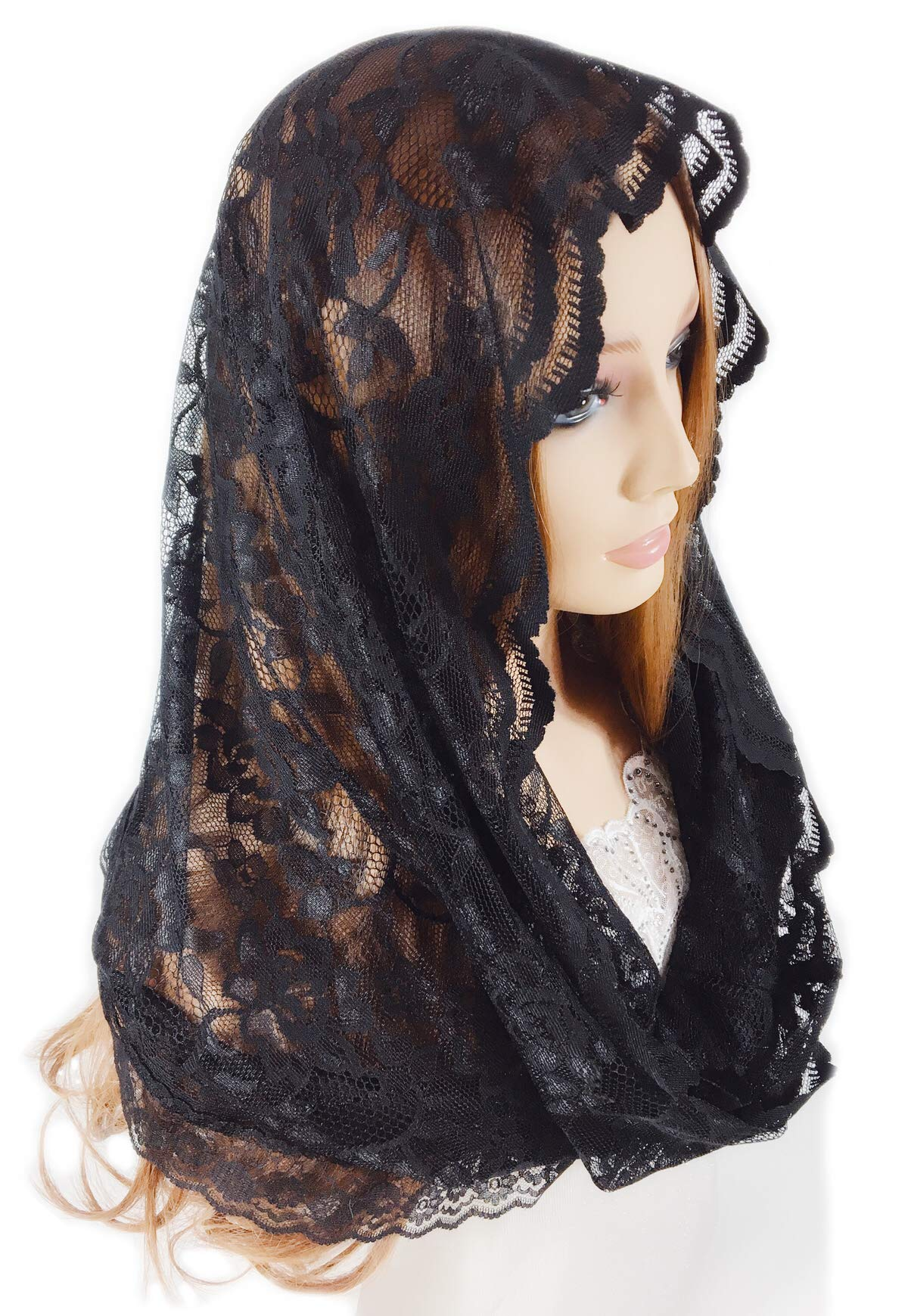 Pamor Infinity Floral Veils Scarf Catholic Church Veil Head Covering Latin Mass Lace Mantilla with Free Hairclip (black) by PAMOR (Image #3)