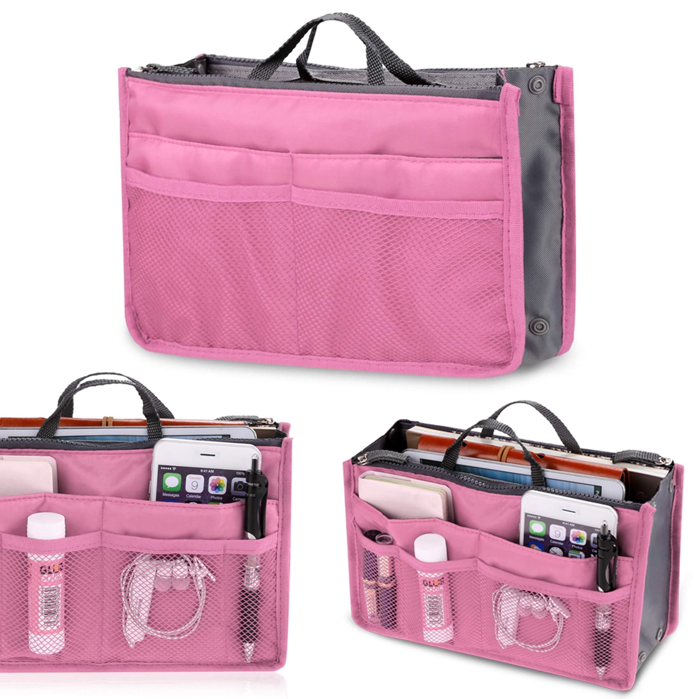 kecooi multifunctional Cosmetic handbag organizer insert makeup bag with 13 Pockets Travel tidy Toiletry Organizer Handbag (Pink)