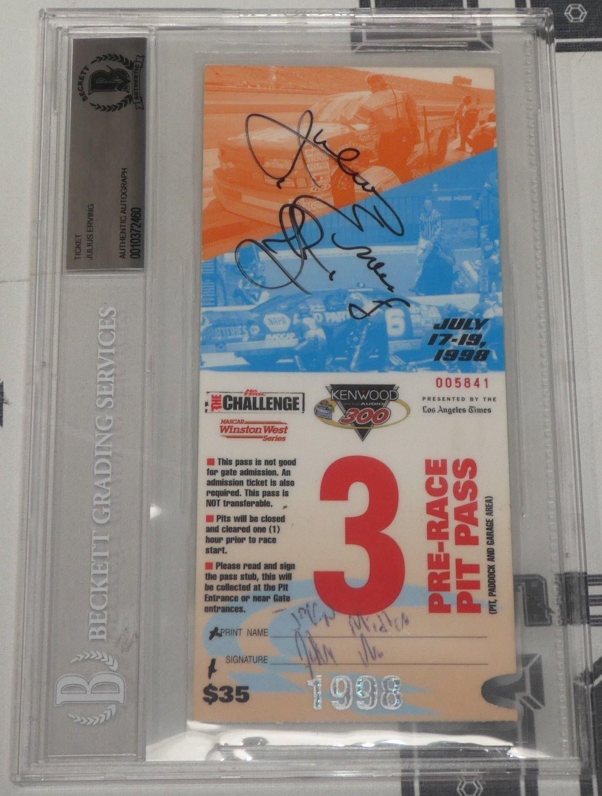 Dr J Julius Erving Signed Autograph '98 Nascar Ticket Bas Beckett Certified Basketball Autograph
