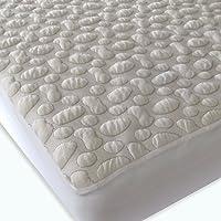 40-Winks Organic Cotton Pebble Puff Crib Mattress Pad Protector, Natural, Small