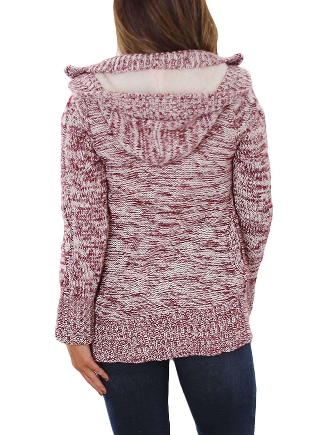 Sidefeel Women Hooded Knit Cardigans Button Cable Sweater Coat HX27652 72fc19faa