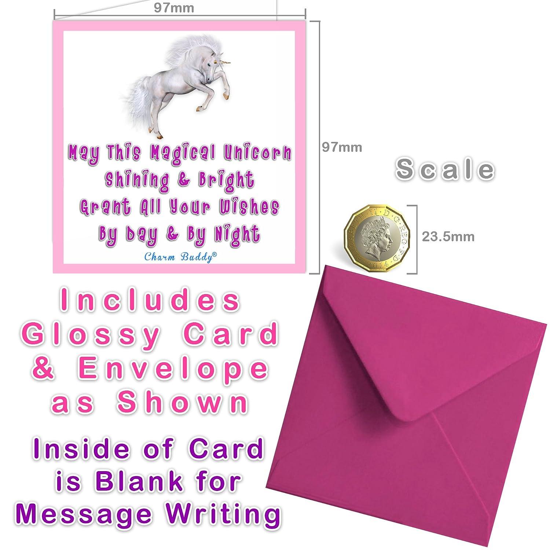 Avec carte de v/œux et bo/îte cadeau Bracelet /à breloques en cuir blanc avec pendentif licorne Pour enfant
