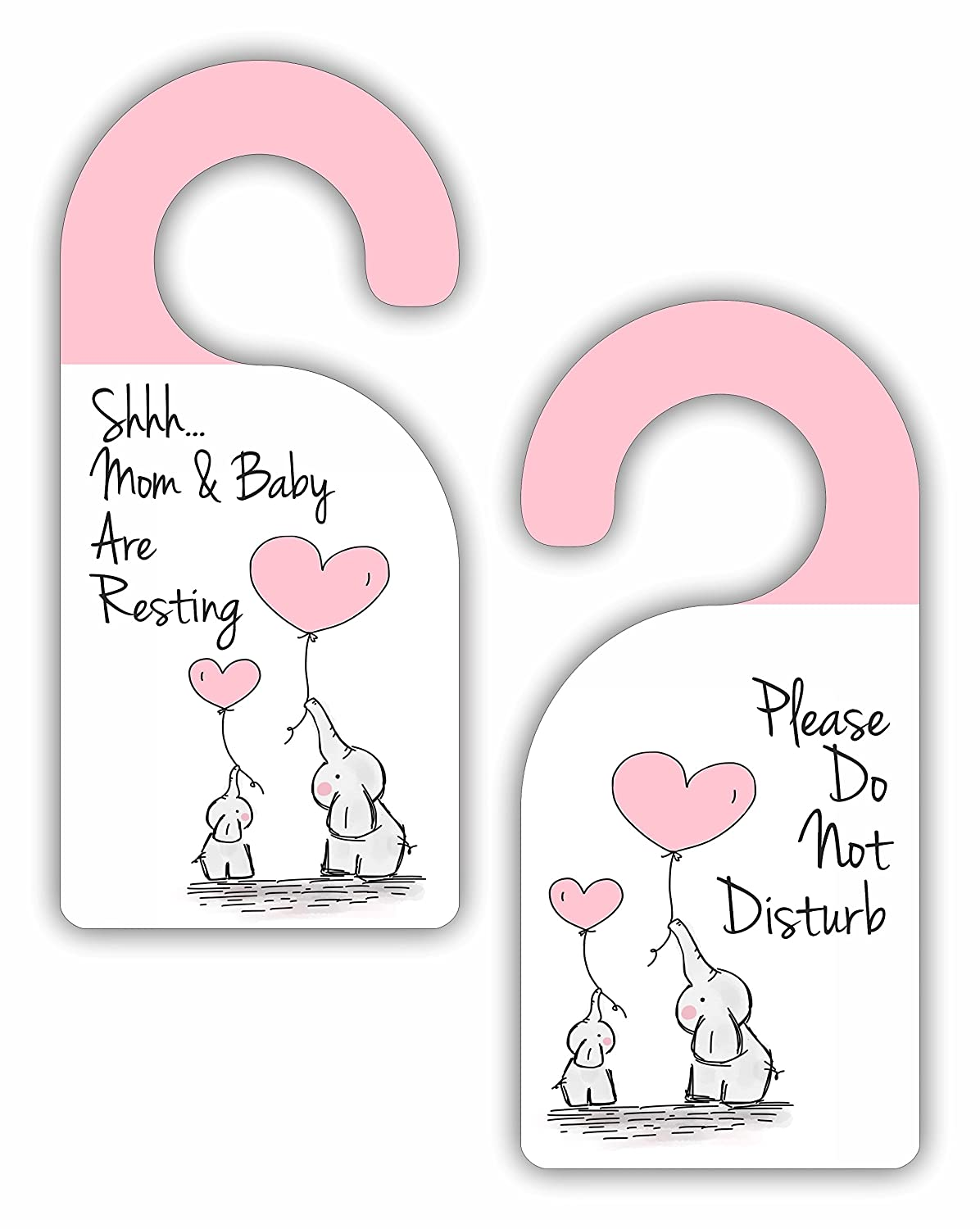 Shhh Mom and Baby Are Resting - Please Do Not Disturb - Baby Girl - Room Door Sign Hanger - Double Sided - Hard Plastic - Glossy Finish Jacks Outlet JOI-DOHA-24