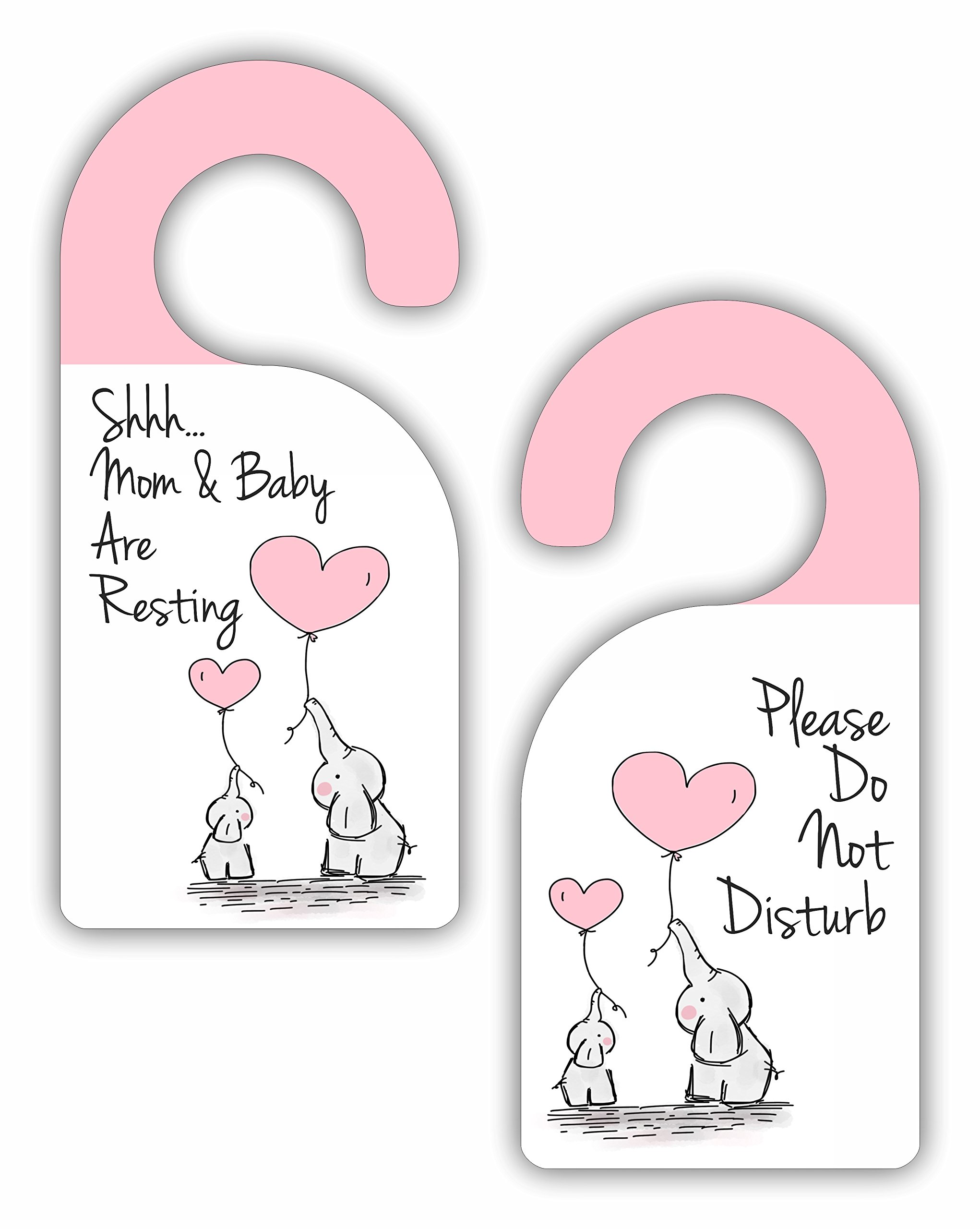 Shhh Mom and Baby Are Resting - Please Do Not Disturb - Baby Girl - Room Door Sign Hanger - Double Sided - Hard Plastic - Glossy Finish