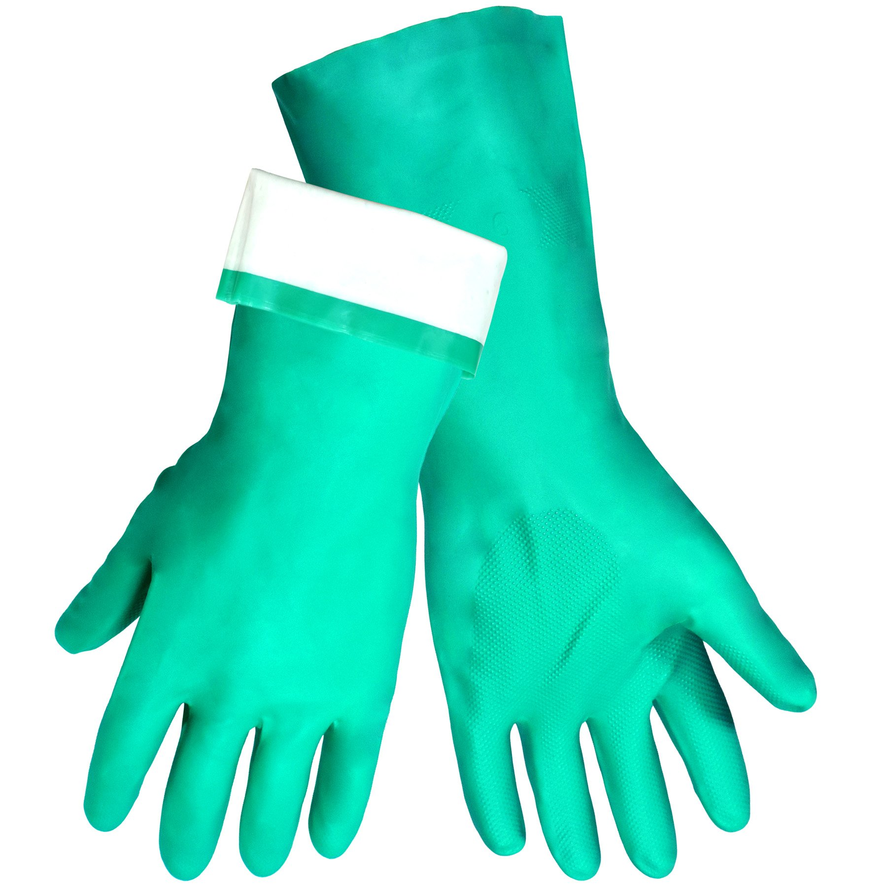 Global Glove 515F Flock Lined Nitrile Diamond Pattern Glove, Chemical Resistant, 15 mil Thick, 13'' Length, Small, Green (Case of 144)