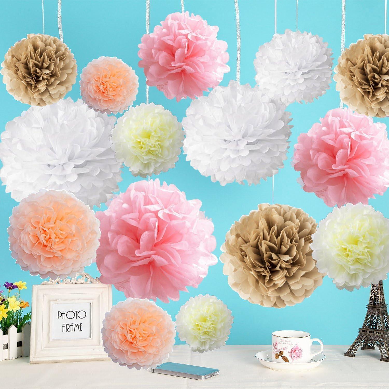 Flower Paper Garland Pastel Baby Girl Nursery Wedding Baby Shower Hanging Decoration Party Decor