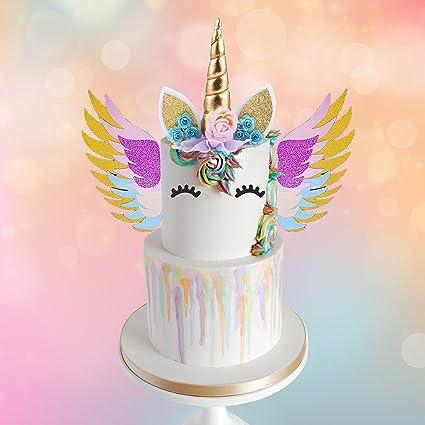 Amazon Mordun Unicorn Cake Topper Gold Set Reusable Glitter