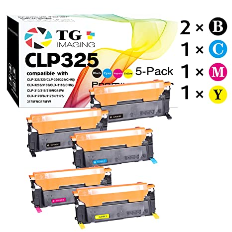 (5-Pack, Extra Black) Compatible CLT-407 CLT-407S Toner Cartridge for use in Samsung CLP-320 CLP-321 CLP-325 CLP-326 CLX-3180 CLX-3185 Printers, Sold ...