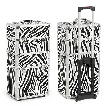 0728a724fd5e3 BELLAVIE 3 in 1 Rolling Cosmetic Makeup Case, Make up Artist Case Aluminum,  Professional (Zebra)