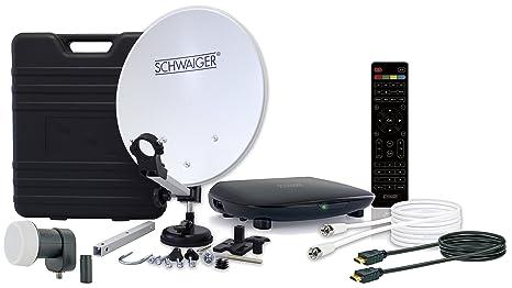 SCHWAIGER -9604- Camping-Sat-Anlage digital komplett / Camping-Zubehör / Camping Satelitenschüssel / Sat Koffer / Single LNB