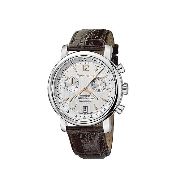 Wenger Reloj Cronógrafo para Hombre de Cuarzo con Correa en Cuero 01.1043.110: Amazon.es: Relojes