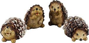 Woodland Pinecone Hedgehog Holiday Figurines - Set of 4