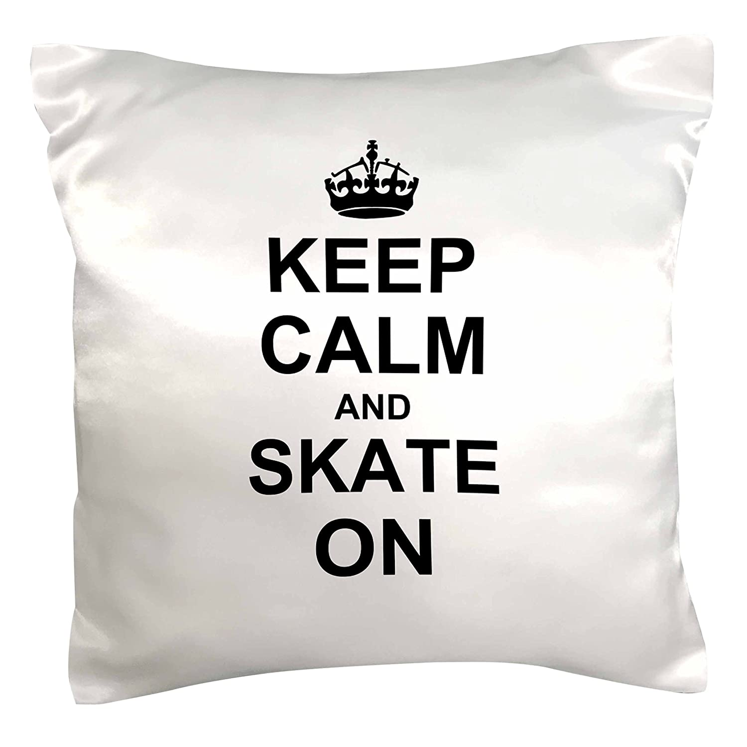 16 x 16 3dRose pc/_157771/_1 Keep Calm and Skate on Carry on Skating Funny Skateboarding Ice Skater Or Roller Skating Gifts Pillow Case