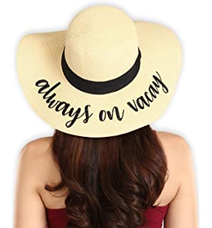 139df93e8f2 Women s Embroidered Floppy Beach Sun Hat - Wide Brim Summer Straw Hats -  Ideal for Travel