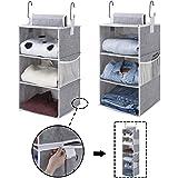 "StorageWorks 6-Shelf Hanging Closet Organizers, Two 3-Shelf Separable Closet Hanging Shelves, Canvas, Gray, 12"" W x 12…"